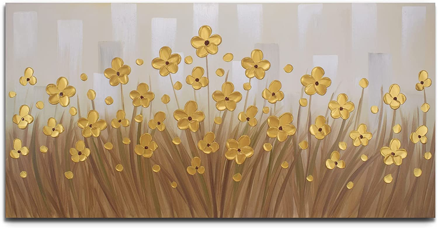 Yika Art -- 100% Hand Painted 3D Paintings On Canvas Golden Daisy Flower Oil Paintings Abstract Landscape Artwork Ready to Hang Wall Art for Living Room Bedroom --24X48 Inch