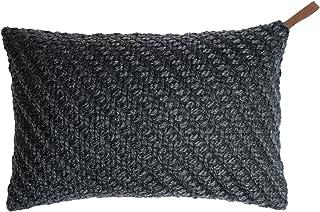 Black Velvet Studio Funda cojín Knot 80% Lana y 20% poliéster, Color Gris Oscuro. Tejido con Nudos Rico en Textura 30x45 cm.