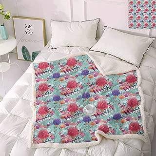 Zara Henry Ice Cream Wool Blanket, Memphis Style Eighties and Nineties Pattern with Geometrical Pop Art Funky Flavor Bed Fleece Blanket Multicolor