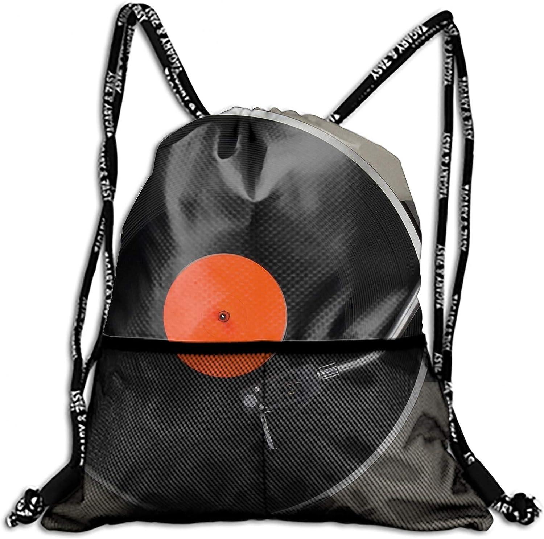 Vinyl Record Sackpack Drawstring Backpack Waterproof Gymsack Daypack for Men Women
