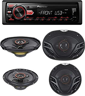 """Pioneer In-Dash Single DIN Digital Media Player Front USB Auxiliary MP3 AM/FM Radio Android phone app Control (Advanced Remote Control) Car Stereo Receiver with pair of 6.5"""" and pair of 6x9"""" Speakers"""