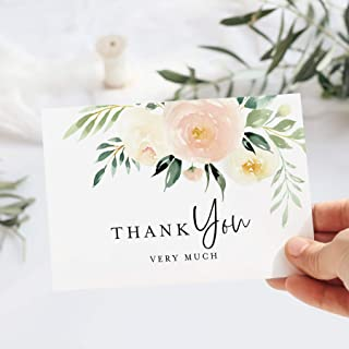 Bliss Collections Blush Floral Thank You Cards with Envelopes, Pack of 25, 4x6 Folded, Tented, Bulk, Perfect for: Wedding,...