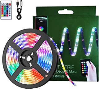 BACKTURE Luces LED Habitacion, 2M Tira LED 60 LED RGB 5050 Luz Led Multicolor con Con Remoto,16 RGB Colores y 4 Modos, Luc...