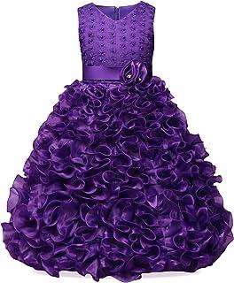 NNJXD Girl V-Neck Sleeveless Flower Party Princess Wavy Tutu Dress