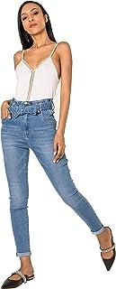 Crazy Age Damskie spodnie jeansowe z pasem dżinsowym z gumowym ściągaczem, wygodne