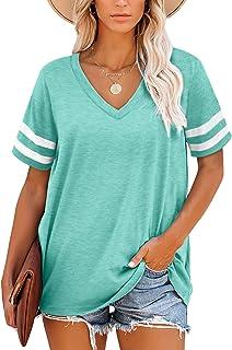 NSQTBA Womens T Shirts V Neck Striped Short Sleeve Tops Summer