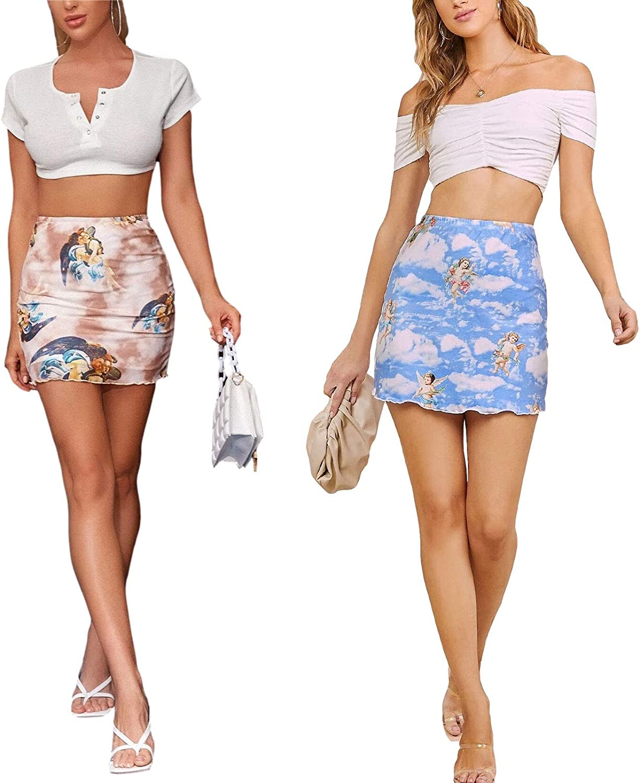 Women Retro Mini Skirts Angel Printed Vintage Elastic Skirt Summer Casual A-Line Graphic Skirt Y2K E-Girl Streetwear