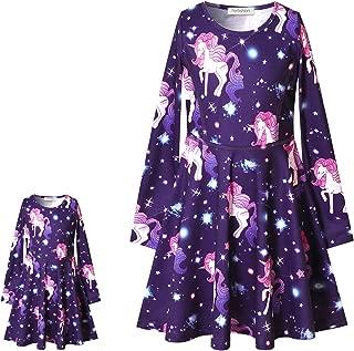 Perfashion Unicorn Dress Matching Girls&Dolls Sleeveless Party Summer Outfits