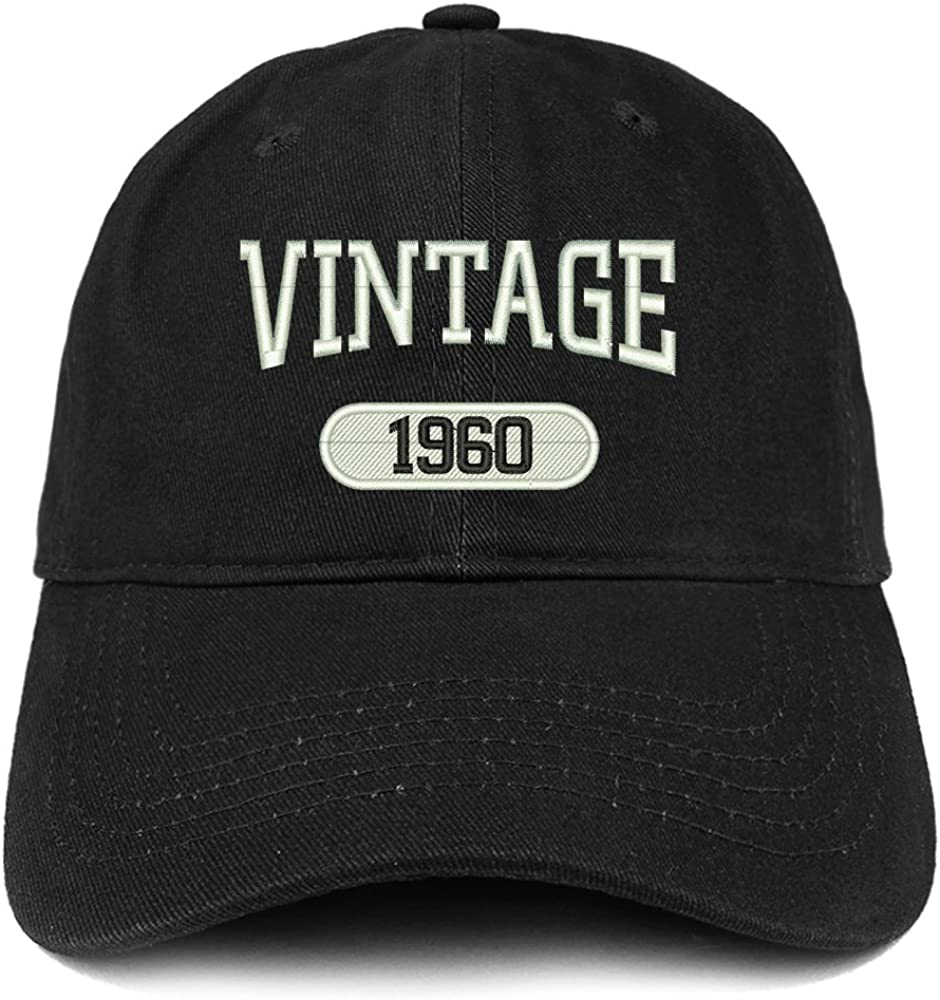 Trendy Apparel Shop Vintage 1960 Embroidered 61st Birthday Relaxed Fitting Cotton Cap