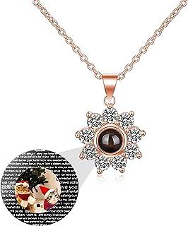 Collana di proiezione Collana con Foto Personalizzata Ciondolo Fiore di Sole 100 Lingue Diverse Collana di Memoria Ti Amo