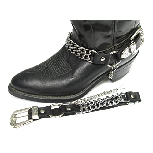 ee12bc9b75f52b Dangerous Threads Western Boots Boot Chains Black Leather with 2 Steel  Chains
