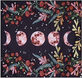 Moonlit Garden Tapestry, Galaxy Starry Moon Phase Watercolor Floral Flower Vine Blcak Backdrop Wall Haniging Tapestry for Bedroom Living Room Dorm. (Moonlit Floral, 78L*58W)