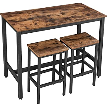 Amazon.com: VASAGLE Bar Table Set, Bar Table With 2 Bar Stools, Breakfast Bar Table And Stool Set, Kitchen Counter With Bar Chairs, Industrial For Kitchen, Living Room, Party Room, Rustic Brown And