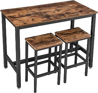 VASAGLE Lot Table et Chaises de Bar, Table Haute avec 2 Tabourets de Style Industriel, pour Cuisine, Salle à Manger, Salo...