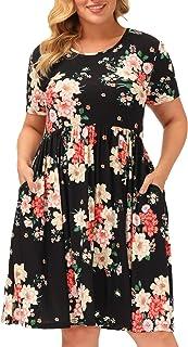 Hanna Nikole Women's Plus Size Print T Shirt Dresses Short Sleeve Tie Dye Dress