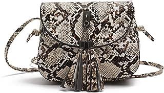 Elegant Snakeskin Crossbody Purse Small Shoulder Saddle Bag for Women Teen Girls