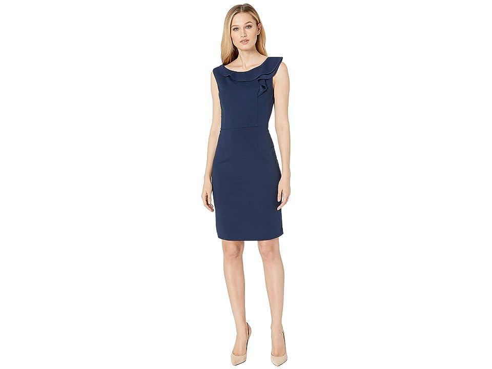 Nine West Scuba Crepe Ruffle Neck Sleeveless Dress (Navy) Women