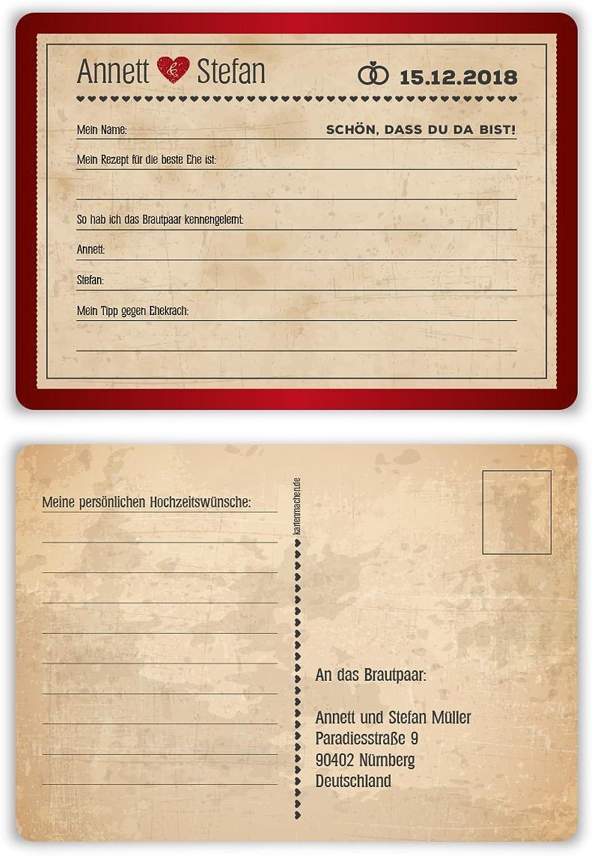 60 x Hochzeitsspiel Fragerunde Fragerunde Fragerunde Postkarte Fragen Antworten - Vintage Herz in Rot B078HCC5DG | Ausgezeichnete Qualität  20c604