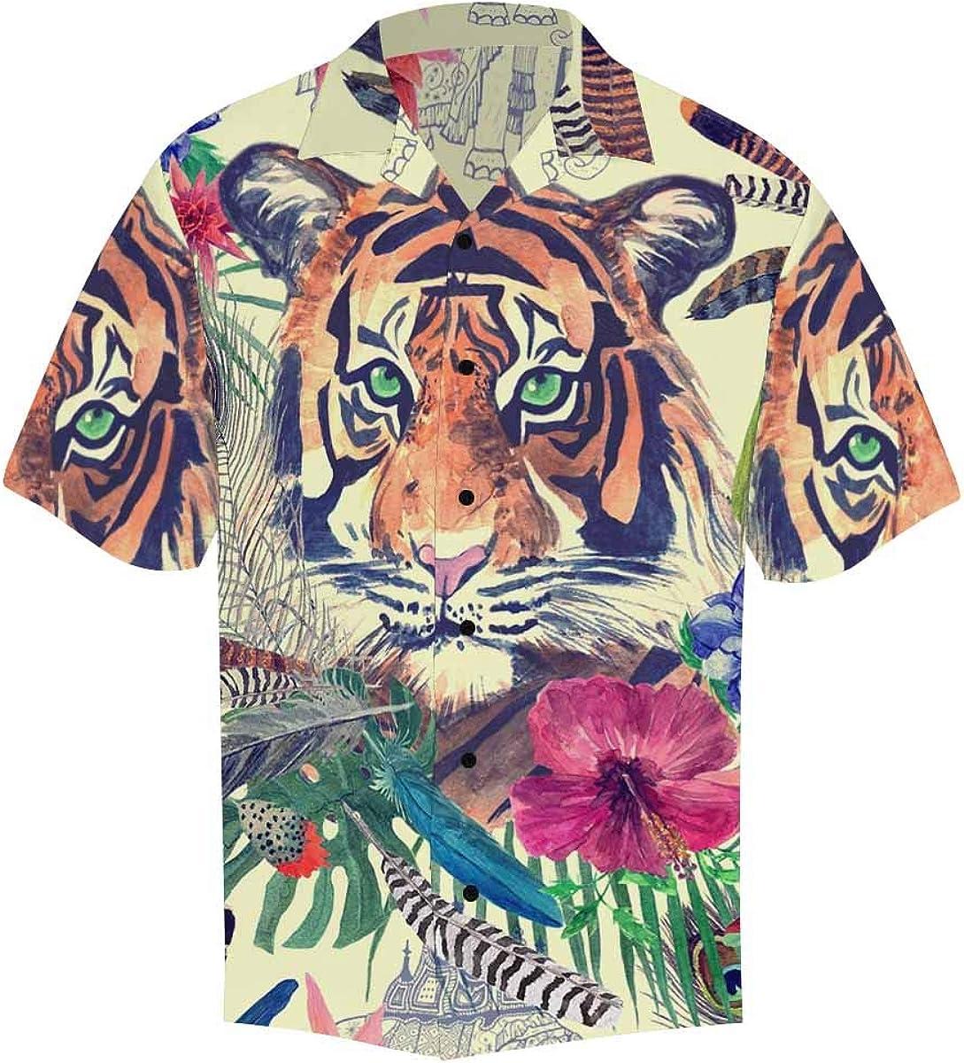 InterestPrint Men's Casual Button Down Short Sleeve Watercolor Dream Catcher Hawaiian Shirt (S-5XL)