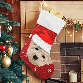 Vdsrup Winter Snowflakes Cute Dog Christmas Stockings Santa Hat New Year Eve Large Personalized Xmas Stocking Classic Luxury Stocking Decorations for Family Holiday Party 2 Pcs 18