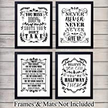 Motivational Wall Art Print Typography - Set of Four Photos (8x10) Unframed - Makes a Great Gift - Chic Home Decor Quotes