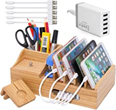 Bamboo Charging Station for Multiple Devices with 5 Port USB Charger, 5 Charger Cables and Apple Watch Stand. Wood Desktop...
