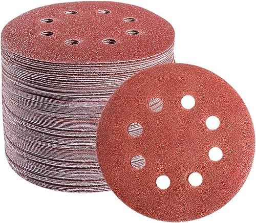 S SATC 72 PCS 5 Inch 8 Hole Hook and Loop Adhesive Sanding Discs Sandpaper for Random Orbital Sander 40 60 80 120 180...
