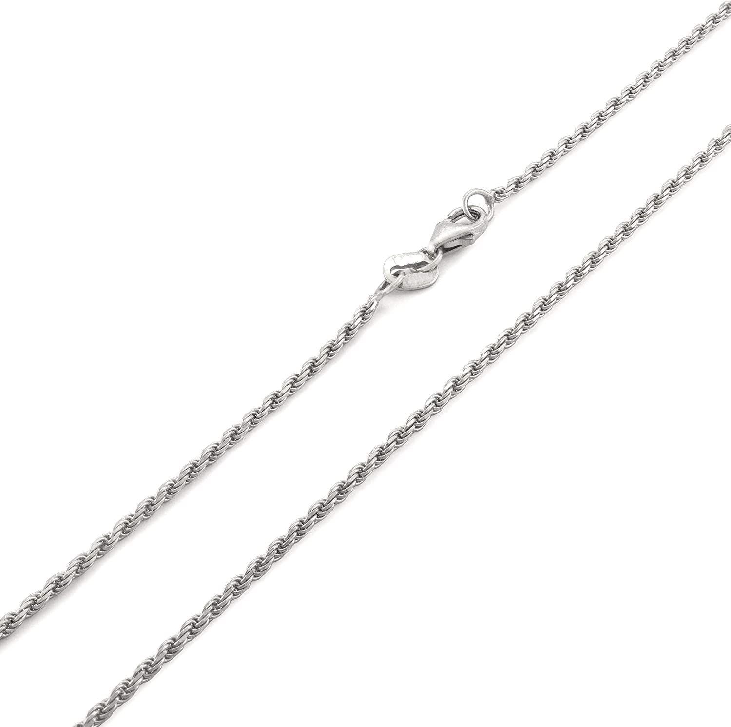 Nuragold 10k White Gold 1.5mm Solid Rope Chain Diamond Cut Pendant Necklace, Mens Womens Lobster Lock 16