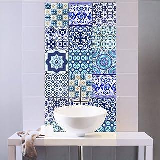 EXTSUD Adhesivos Decorativos para Azulejos Pegatinas para Baldosas del Baño/Cocina Resistente al Agua, 10 Unidades, 20 x 20 cm, Estilo Porcelana Azul y Blanca