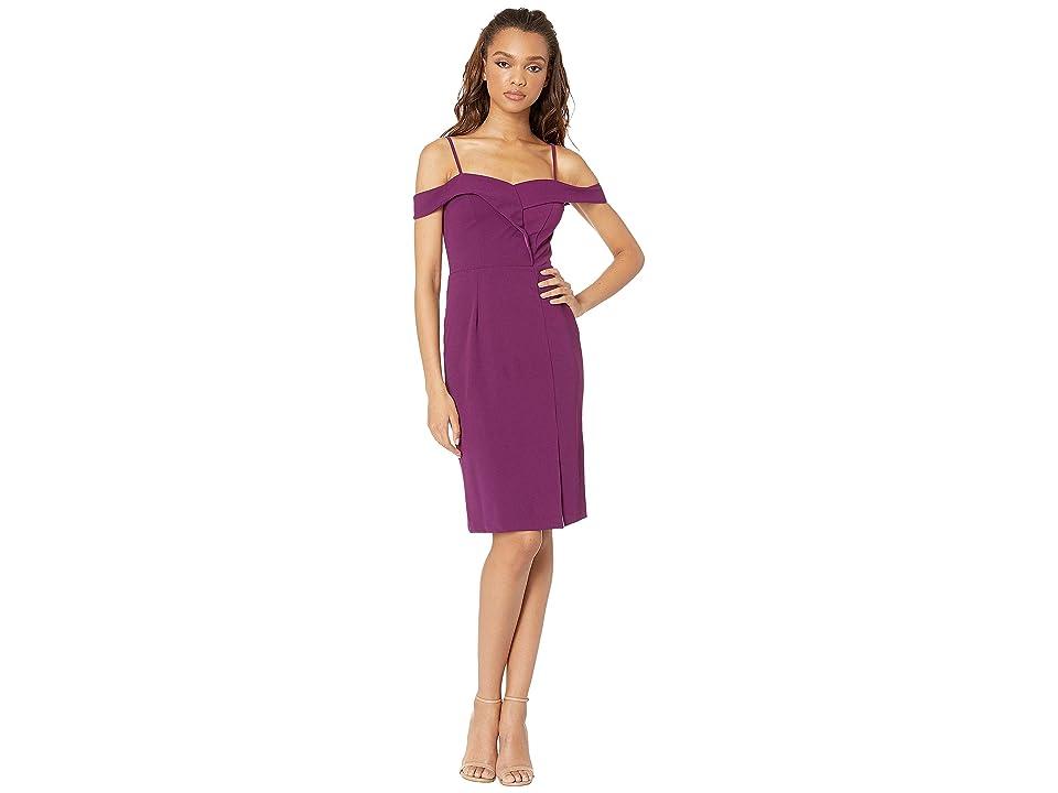 Bebe Off the Shoulder Slit Dress (Plum) Women
