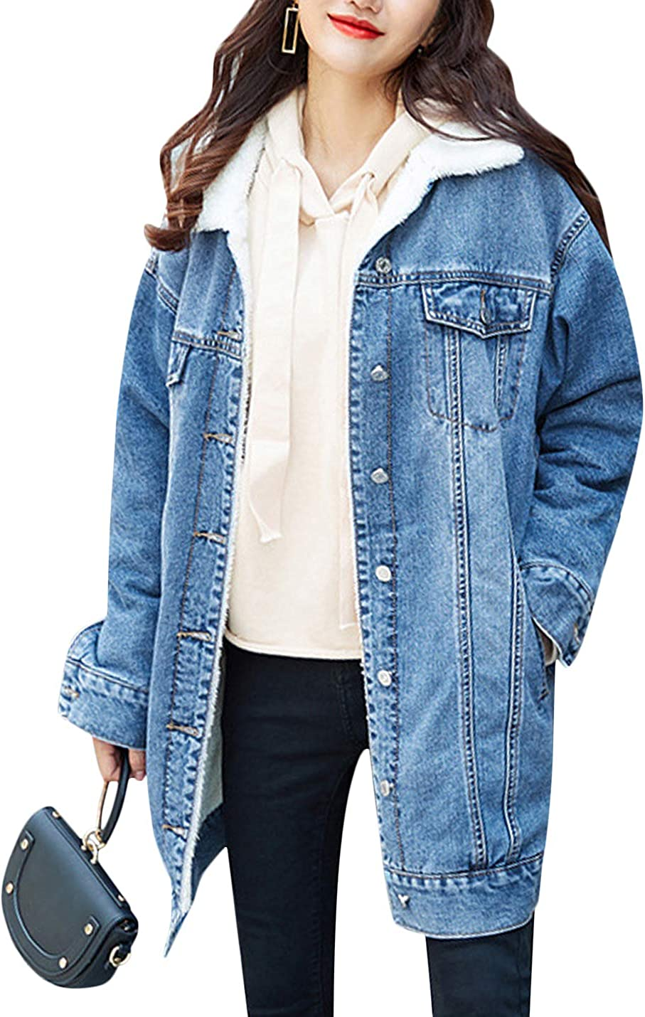 Uaneo Women's Winter Thicken Lapel Button Down Sherpa Lined Denim Jacket Coat (Blue, Large)