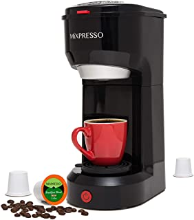 Mixpresso 2 in 1 Coffee Brewer, Single Serve Coffee Maker K Cup Compatible & Ground Coffee, Personal Coffee Maker ,Compact...