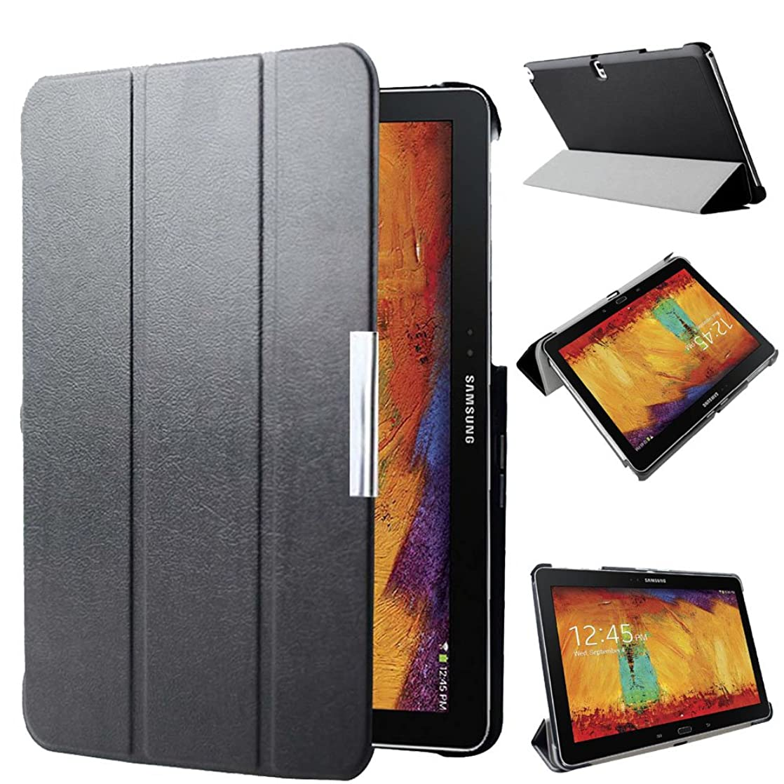 Kuesn SM-P600 P601 P605 Smart Stand Cover Case for Samsung Galaxy Note 10.1 (2014 Edition) Ultra Slim Flip Folio Pu Leather Case Pouch with Magnetic Auto Slepp&Awake up (Black) gwmqqlet71195