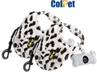 ColPet Retractable Dog Leash,16ft Long Tape Walking Leash with Waste Bag Dispenser for Dogs and Puppies, One Button Break & Lock, 360°Tangle Free