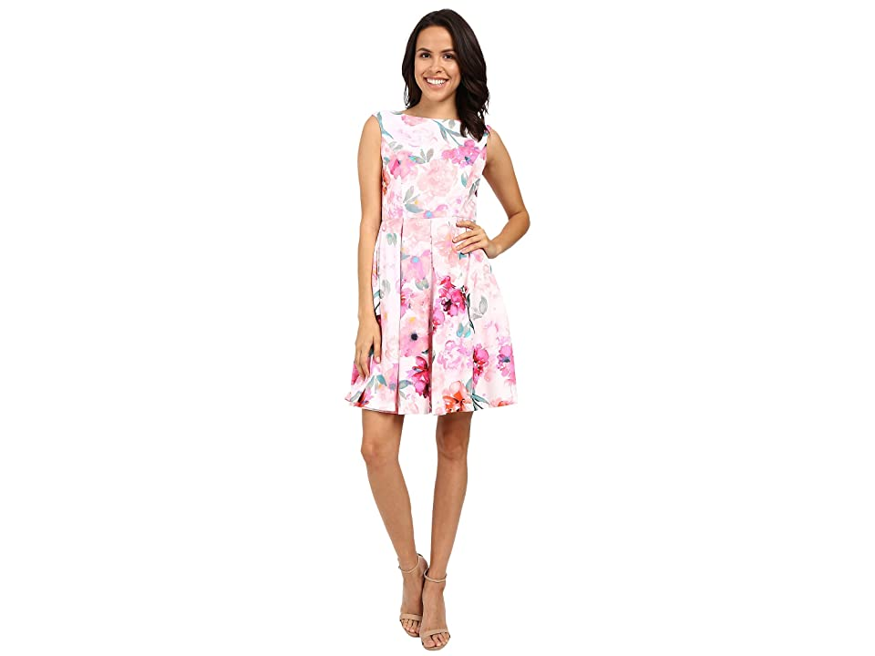 Donna Morgan Sleeveless Twill Printed Fit and Flare Dress (Pink Multi) Women