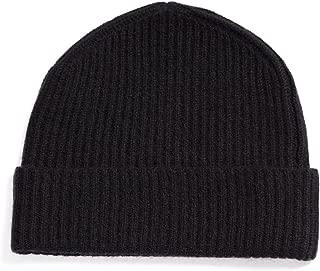 Men's 100% Pure Cashmere Ribbed Cuffed Hat; Ultra Plush