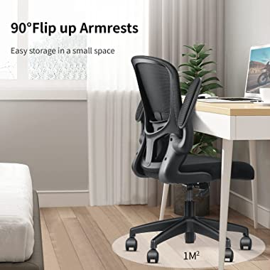 Home Office Chair, mfavour Ergonomic Office Chair with Flip-up Armrest, Lumbar Support, Computer Mesh Chair for Home Office