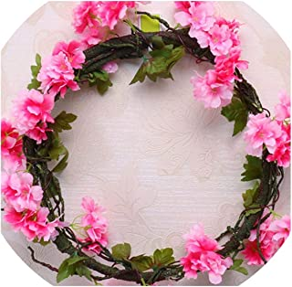 Sweet-Candy artifical flowers 230cm Silk Sakura Cherry Blossom Wedding Arch Decoration Layout Home Party Rattan Wall Hanging Garland Wreath Slingers,A31-3