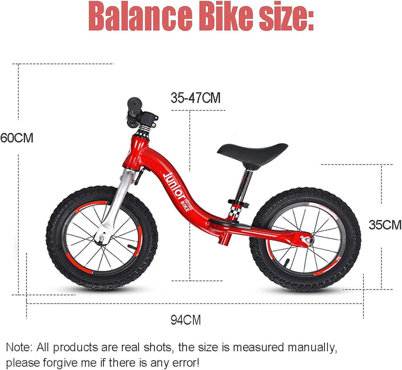 QMMD Bicicletta 14 Pollici per Bambini 4-9 Anni Bicicletta Equilibrio Senza Pedali per Bambino et Bambina Bici da Equilibrio Corridori Giocattoli Regali Sedile Regolabili,Grigio