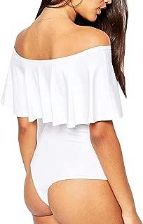 May&Maya Women's Off Shoulder with Ruffle Overlay Bodysuit