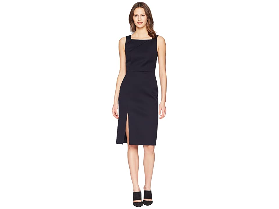 Image of Adam Lippes Double Cotton Fitted Overall Dress (Dark Navy) Women's Dress