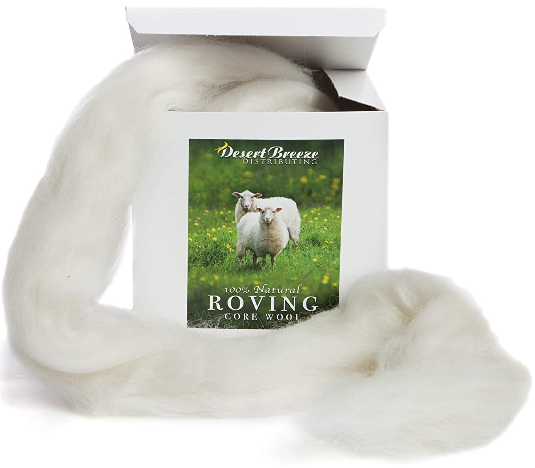 100% Natural Wool Roving, 8 OZ Corriedale, Best Core Wool for Needle Felting, Clean, 29.5 Micron, Un-Dyed
