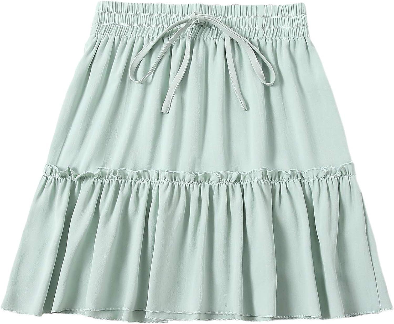 Milumia Women Elastic High Waist Skirt Ruffle Tie Front Mini Short Flared Tiered Skirt