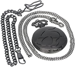 Tungsten Steel American Animated Thundercats Film Steampunk Black Pocket Watch Necklace Antique Men Women Pocket Watches Chain Vintage Quartz Clock Fob Watch 1 PC Necklace 1 PC Clip Key Rib Chain
