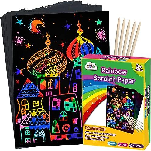 ZMLM Scratch Paper Art Set, Rainbow Magic Scratch Paper for Kids Black Scratch it Off Art Crafts Kits Notes Boards Sh...