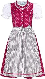 Isar-Trachten Kinder Dirndl Julienne - Pink - 3-TLG. Kleid Bluse Schürze für Mädchen Oktoberfest Kirchweih Hochzeit Sonntagausflug