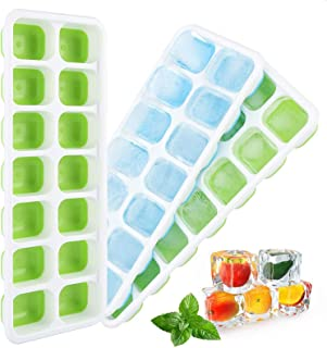 DELFINO Ice Cube Trays 3 Pack Easy-Release and Flexible 14-Ice Trays with Spill-Resistant Removable Lid, BPA free Flexable...