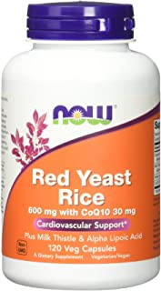 NOW RED YEAST RICE with MILK THISTLE, ALPHA LIPOIC ACID and CoQ10 - 120 Vegetarian Capsules