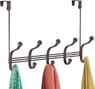 InterDesign York Lyra Over The Door 10-Hook Rack for Coats, Hats, Robes, Towels - Bronze