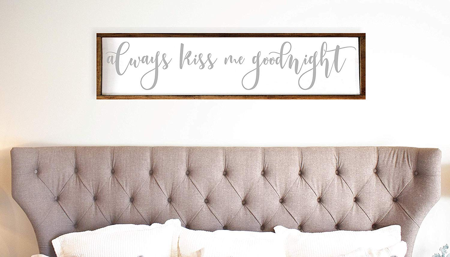 15x50cm Always Kiss Me Goodnight Farmhouse Funny Sign 12x48 Over The Bed Decor Bedroom Love Quote Above Bed Funny Sign Rustic Love Funny Sign Bedroom Decor Buy Online In Cayman Islands At
